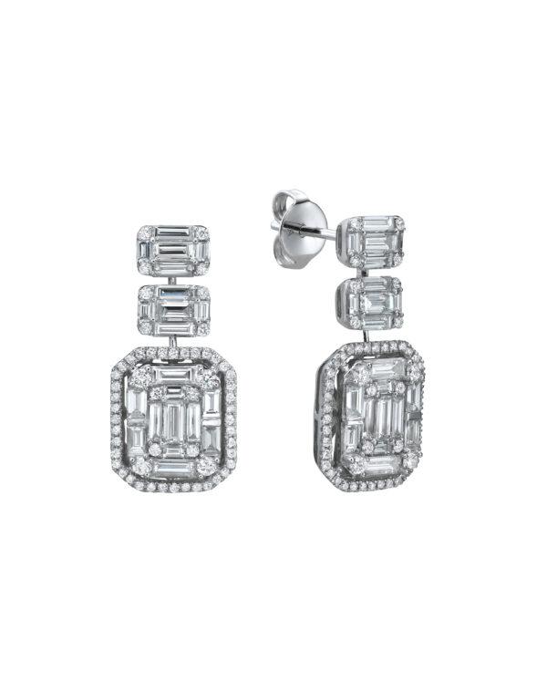 עגילי יהלומים מעוצבים 3.16 קראט