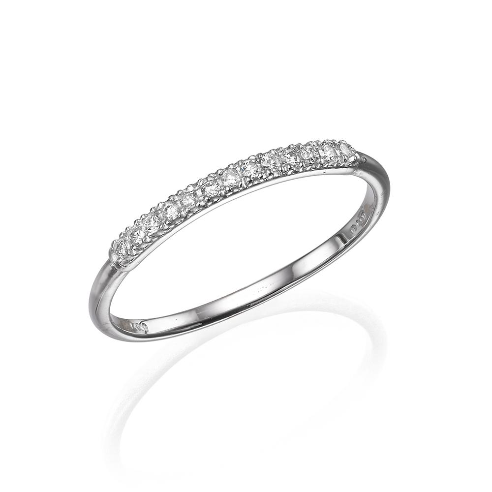 טבעת יהלומים, 14K זהב, משובצת 0.08 קראט יהלומים