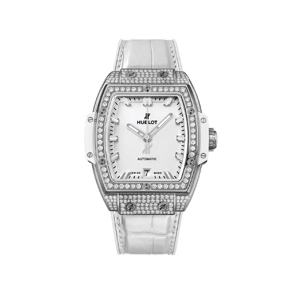 HUBLOT SPIRIT OF BIG BANG TITANIUM WHITE DIAMOND PAVE DIAMONDS 39 MM