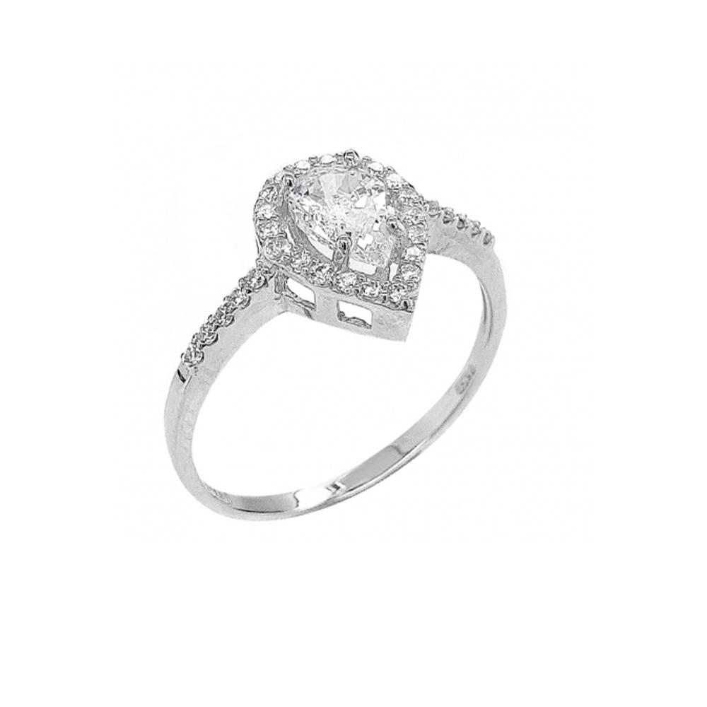 טבעת טיפה זהב לבן 14K משובצת זרקונים