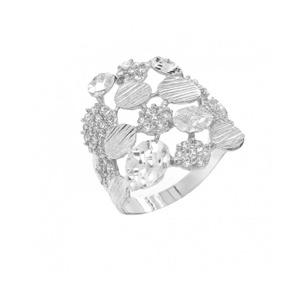 טבעת בועות בשילוב זרקונים וחריטות נצנץ