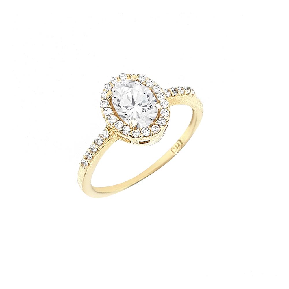 טבעת אובלית זהב 14K