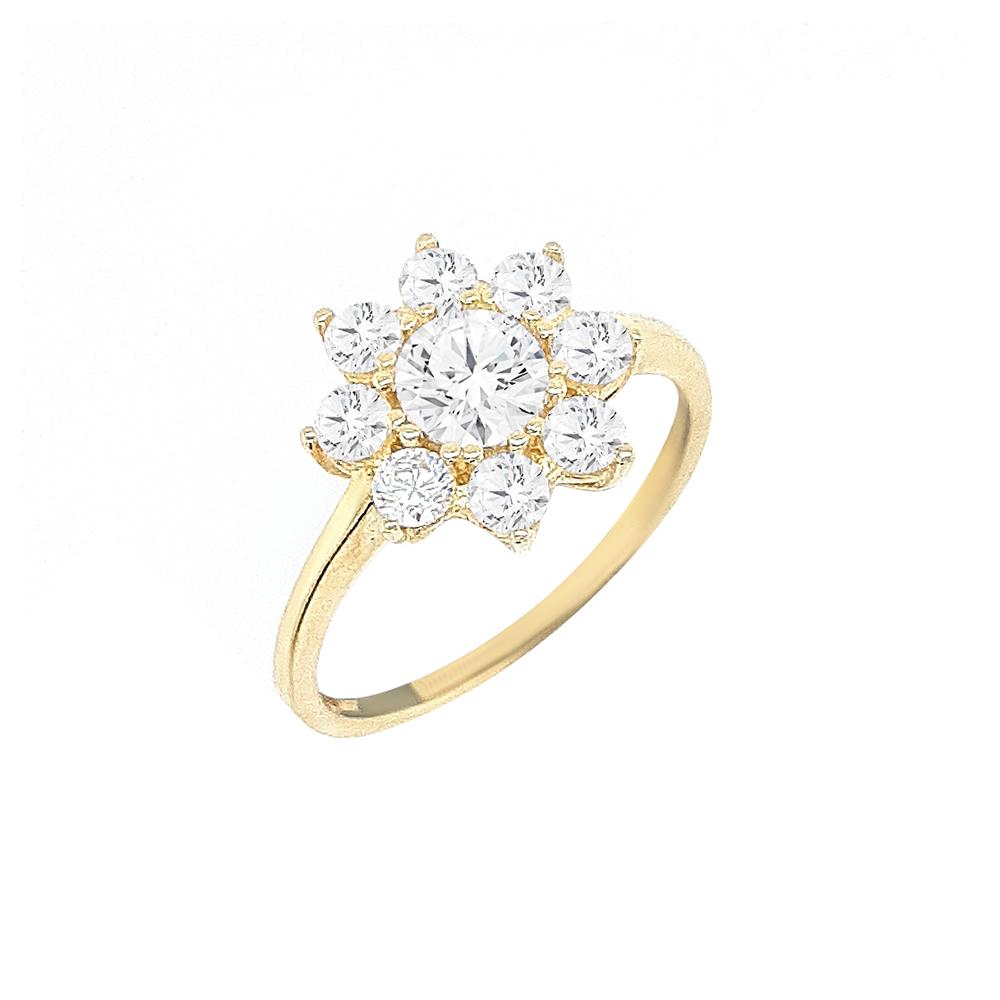 טבעת פרח זהב 14K