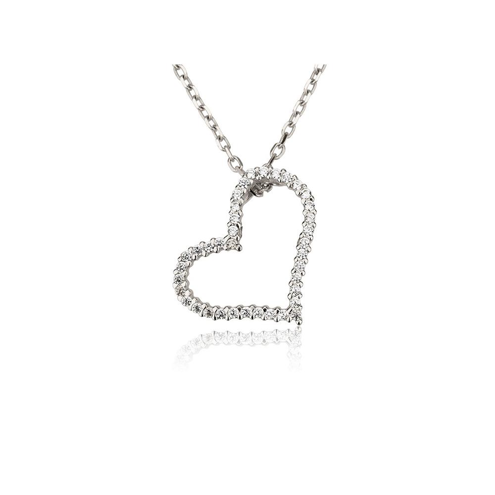 שרשרת זהב לבן עם תליון לב יהלומים משובץ 0.22 קראט