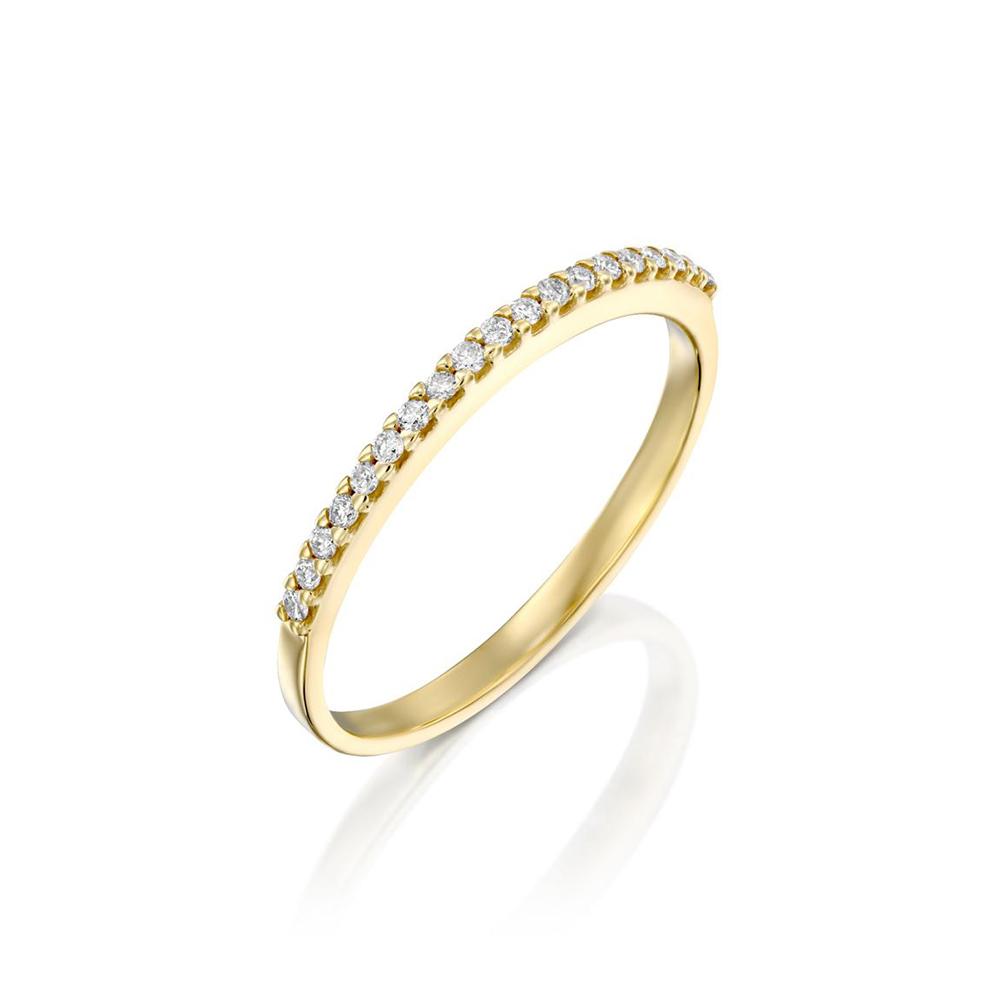 טבעת שורה יהלומים, זהב 14K, משובצת 0.12 קראט יהלומים